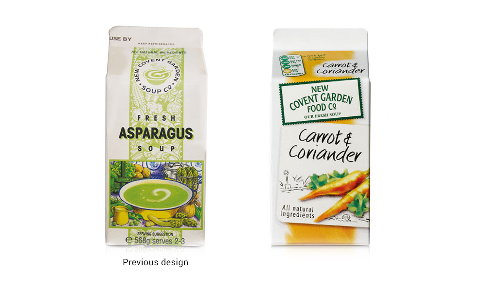 New Covent Garden Soup packaging design before and after - Rylands Brand Design
