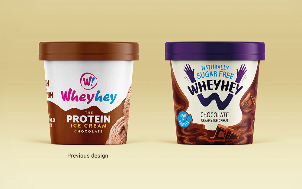 Wheyhey sugar free ice cream branding before and after - Rylands Brand Design